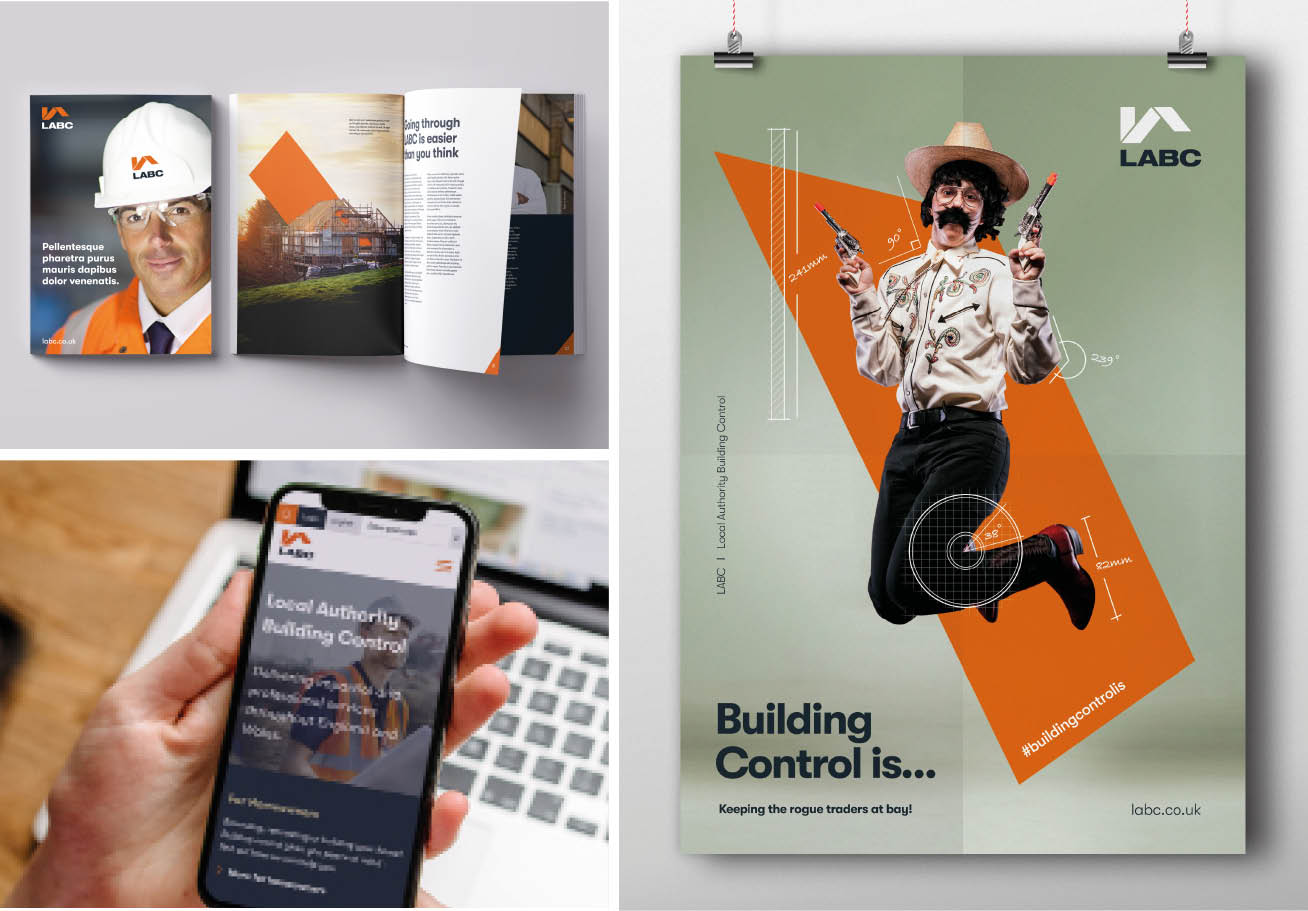 LABC branded collateral, website on mobile, brand poster