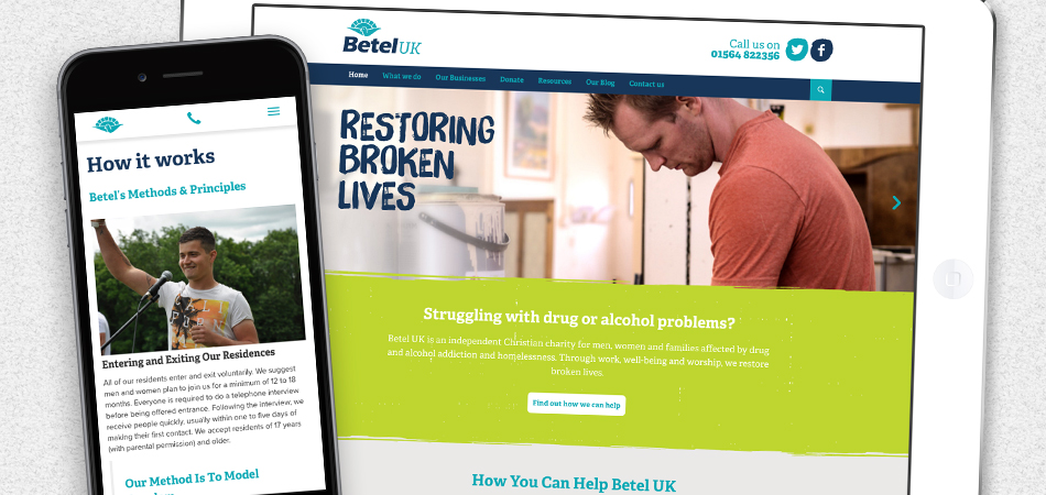 Betel charity website by IE Digital shown on mobile devices