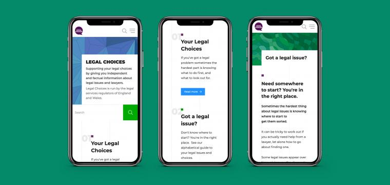 Legal Choices website shown on three mobile phone screens