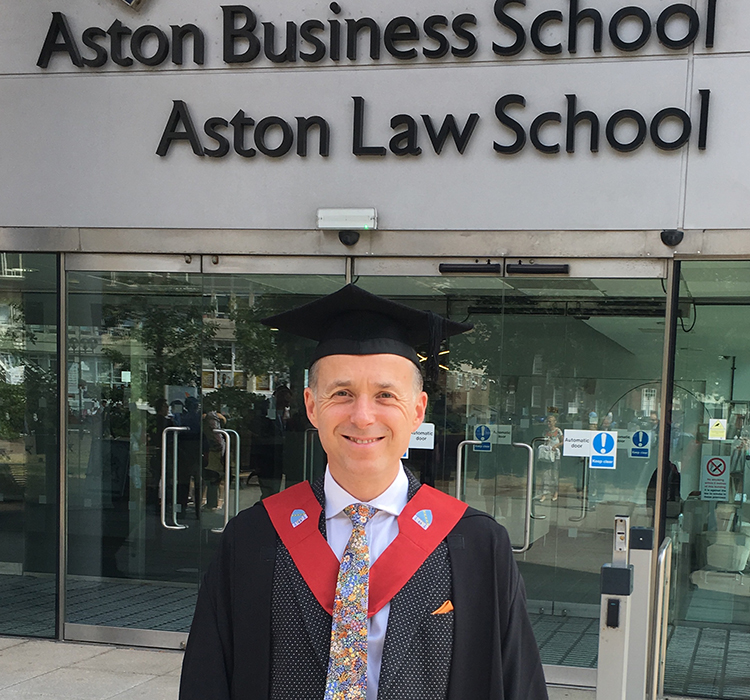 Ollie Leggett graduates from Aston Business School with a MBA