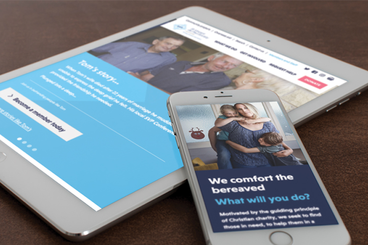 SVP charity website by IE Digital shown on mobile devices