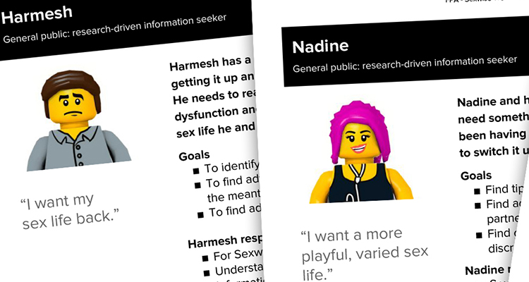 User personas developed for sexual health charity Sexwise