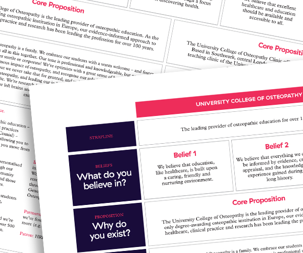 Messaging matrix for the University College of Osteopathy – IE Brand consultancy to education clients