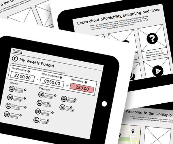Wireframes created during the design of UniExplorer
