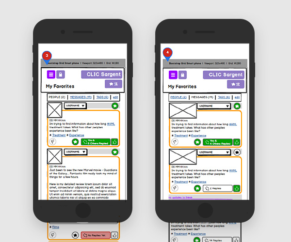 Wireframes for the CLIC Sargent charity community app