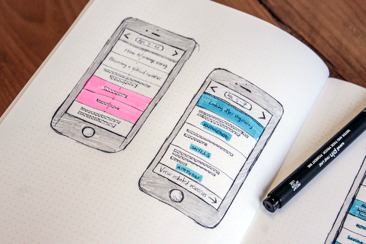 Low fidelity sketches showing proposed mobile user interface
