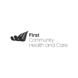 First Community Health and Care logo (grey)